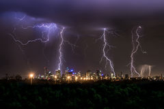 Thunderstorm over Melbourne City. Showing multiple lightning strikes Stock Images