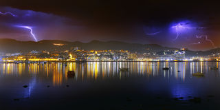 Thunderstorm over Portugalete Royalty Free Stock Images