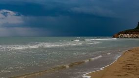 Thunderstorm over sea on the coast of Sicily stock video footage