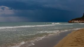Thunderstorm over sea on the coast of Sicily stock video