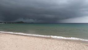 Thunderstorm on the beach of sardinia. Thunderstorm and rain on the beach of sardinia stock video footage