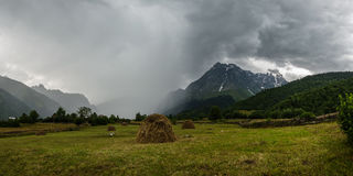 Thunderstorm with rain in mountain Royalty Free Stock Image