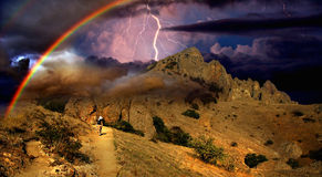 Thunderstorm and rainbow in the Crimea Stock Photography