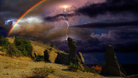 Thunderstorm and rainbow in the Crimea Stock Photo