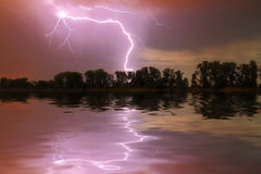Thunderstorm on the river Royalty Free Stock Photo
