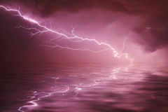Thunderstorm on the river. At night Royalty Free Stock Images