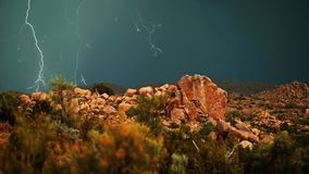 Thunderstorm in the rocky terrain of the national park stock photography