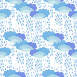 Thunderstorm. 1950s-1960s motifs. Retro textile collection. Abstract seamless pattern with clouds and rain inspired by children drawings royalty free illustration