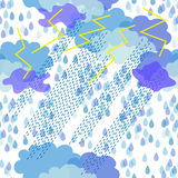 Thunderstorm. 1950s-1960s motifs. Retro textile collection. Abstract seamless pattern with clouds and rain inspired by children drawings stock illustration