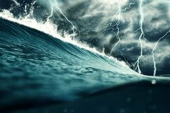 Thunderstorm at the sea illustration. Weather, nature and climate change concept.  royalty free stock photo