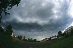 Thunderstorm in the spring for a fisheye. royalty free stock images