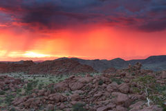 Thunderstorm at Sunset in Damaraland Stock Image
