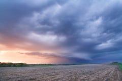 A Thunderstorm at Sunset near Nebraska City, Nebraska stock photo