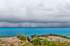 Thunderstorm at Tobacco Bay Beach in St. George`s Bermuda Stock Photo