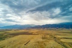Thunderstorm View Towards Kyrgyzstan in Southern Kazakhstan take royalty free stock photos