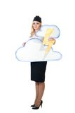Thunderstorm weather forecast. Sad television woman tell about bad weather forecast Royalty Free Stock Photos