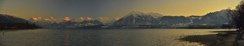 Thunersee and Berner Oberland. Swiss Alps Royalty Free Stock Photo
