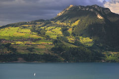 Thunersee jezioro z łodzią Szwajcaria Obrazy Royalty Free