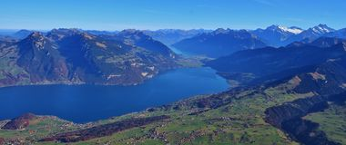 Thunersee and mountains in the Bernese Oberland Stock Images