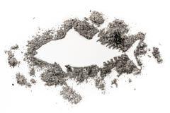 Thunfisch-Schattenbildzeichnung gemacht im Sand Stockbilder