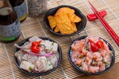 Thunfisch und Lachse Ceviche Stockfoto