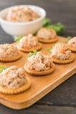 Thunfisch verbreitet mit Cracker Stockbilder
