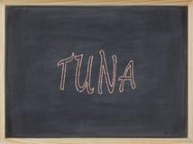 Thunfischfleisch geschrieben auf eine Tafel Lizenzfreie Stockfotos