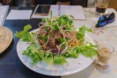 Thunfischsalat im weißen Teller lizenzfreie stockfotografie