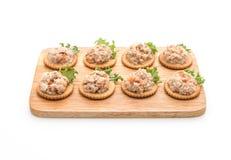 Thunfischsalat mit Cracker Lizenzfreies Stockbild