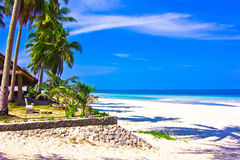 Thung wua laen beach. A beach is beautiful, the green tree, the green sea, the sky is blue Royalty Free Stock Photos