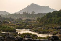 Thungabhandra river landscape in Hampi, India Royalty Free Stock Photo
