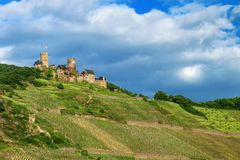 Thurant  Castle above Alken town on Moselle River, Rhineland-Pal Stock Photo