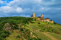 Thurant  Castle above Alken town on Moselle River, Rhineland-Pal Royalty Free Stock Photos
