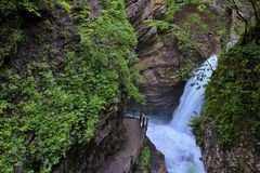Thurfaelle, cascate nella valle di Toggenburg Fotografia Stock
