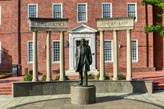 Thurgood Marshall -Maryland State House. Thurgood Marshall Monument beside the Maryland State Capital building in Annapolis, Maryland on summer afternoon. It is Royalty Free Stock Images