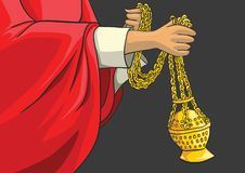 Thurible en laiton liturgique catholique illustration stock