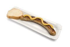 Thuringer bratwurst with mustard and bread Stock Photos