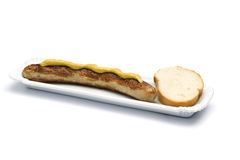 Thuringer bratwurst with mustard and bread Royalty Free Stock Photography