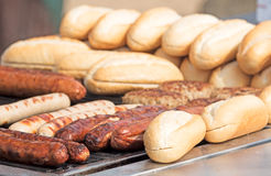 Thuringian sausages on the grill Royalty Free Stock Image