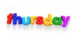 Thursday. Word formed with colourful letter magnets on neutral background Royalty Free Illustration