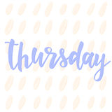 Thursday. Abstract lettering for card, invitation, t-shirt Royalty Free Stock Photo