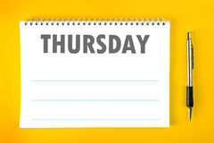 Thursday Calendar Schedule Blank Page Royalty Free Stock Photography