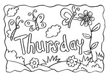 Thursday coloring page with butterflies Stock Images