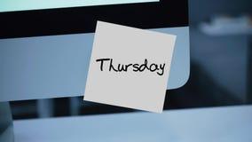 thursday Dagar av veckan Inskriften på klistermärken på bildskärmen vektor illustrationer