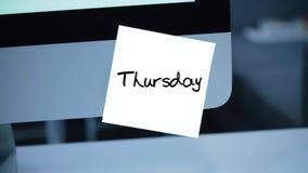 thursday Dagar av veckan Inskriften på klistermärken på bildskärmen royaltyfri illustrationer