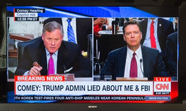 Thursday, June 8th, 2017 - TV Screen of Former FBI Directer Jame. S Comey Testifying on Capitol Hill To The Senate Intelligence Committee stock photos