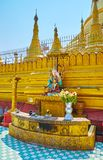 The Planetary post in Shwemawdaw Paya, Bago, Myanmar. The Thursday Jupiter planetary post Birthday corner with statue of Lord Buddha, Nat deity and golden rat at royalty free stock image