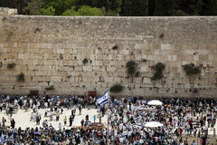 The Wailing Wall. A Thursday morning at the Western Wall, one of the most sacred places to the Jewish religion. The  place is filled with Bar-Mitzvah boys and Stock Images