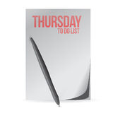 Thursday to do list paper and pen. illustration Stock Images