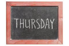 Thursday. Word handwritten on isolated vintage blackboard Royalty Free Stock Photography